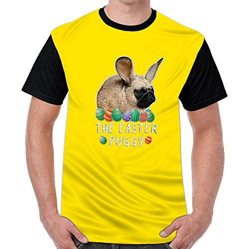 dextrad Bunny Pug Easter Day Men's Funny T-Shirts Casual Tops Yellow