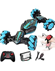 Remote Control Stunt Car,Womdee 2.4G 4WD Stunt Gesture Induction Twisting Off-Road Vehicle Light Music Drift Traverse Remote Control Dancing Side Driving Toy Gift for 3 4 5 6 7 8-12 Year Old Boy Toys