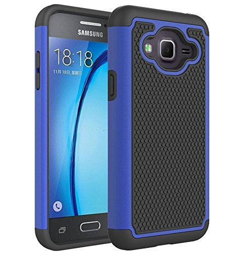Galaxy J3 2016 Case,Galaxy J3V Case,Galaxy J3 6 Case,Galaxy Amp/Express Prime Case,Galaxy Sky/Sol Case,Asmart Shockproof Dual Layer Protective Cover Phone Case for Samsung Galaxy J3 V 2016 (Blue)