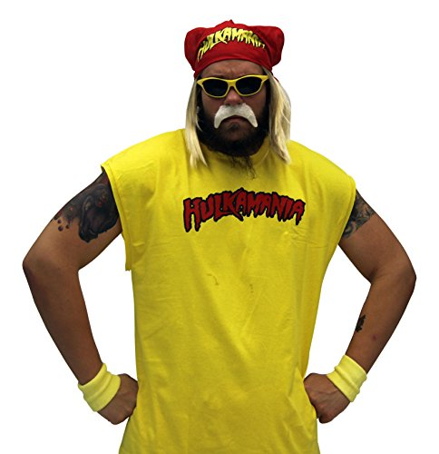 Hulk Hogan Hulkamania Complete Costume Set (Adult 3X, Yellow Sunglasses/Red Bandana)