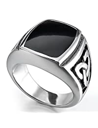 TEMEGO Jewelry Mens Stainless Steel Ring, Vintage Ireland Kont Band, Black Silver