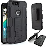 Nexus 6P Case, Lantier Full Protection Heavy Duty Hybrid Armor Dual Layers Holster Combo Rugged Defender Protective Case with Kickstand and Locking Belt Swivel Clip for Google Nexus 6P - Black