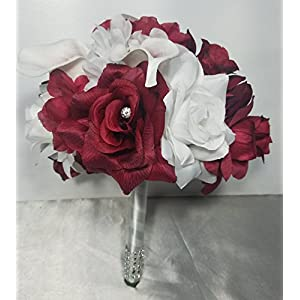Burgundy White Rose Calla Lily Bridal Wedding Bouquet & Boutonniere 75