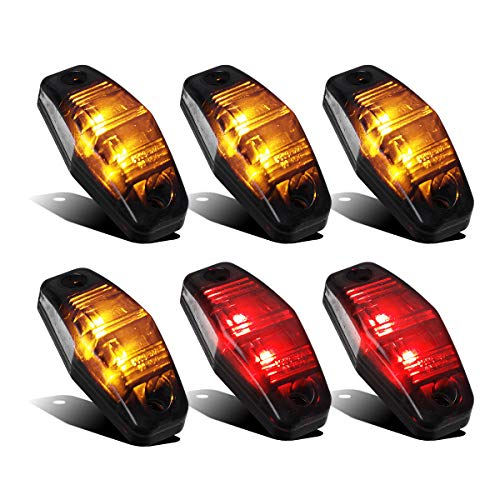 Partsam 4 Amber + 2 Red Universal Smoked Side Marker Trailer Light Surface Mount 2 Diodes, Sealed Mini Led Marker Clearance or Identification Lights, Mini Side Fender Lights (2.54
