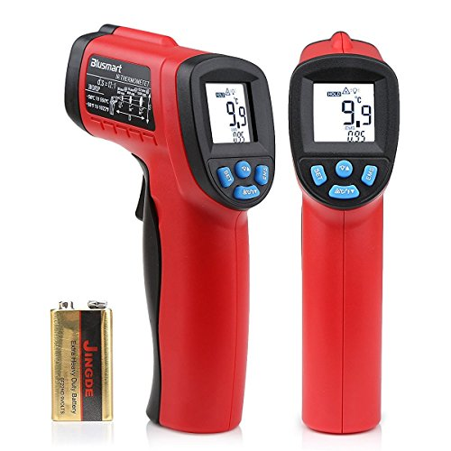 Blusmart Non-Contact Digital Laser Infrared Thermometer IR Temperature Gun -58℉~1022℉ (-50℃~550℃) with LCD Display, Red & Black