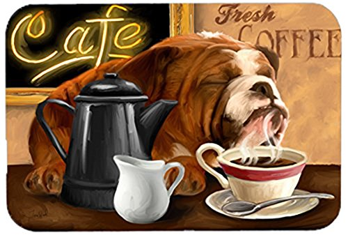 Caroline's Treasures PTW2061LCB English Bulldog Morning Coffee Glass Cutting Board, Large, Multicolor (Board Coffee Cutting Glass)