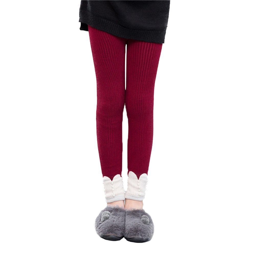 Girls Winter Warm Leggings Jacquard Pants Thick Fleece Tight