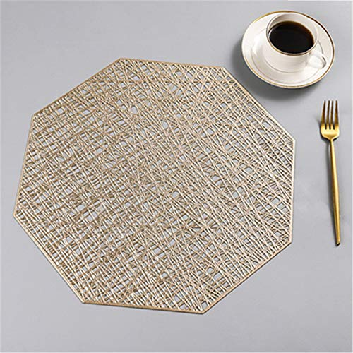 (zxfdj 4 Piece Tableware mat Western PVC placemat Insulation Marble Table mat Home Anti-scalding Waterproof Creative Gold Gold Polygon)