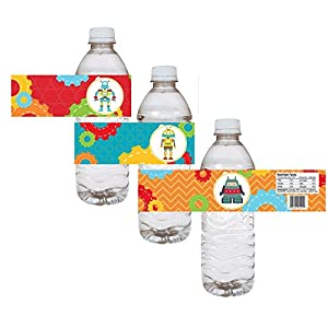 Robot Party Water Bottle Labels - Kid Children Birthday Baby Shower Party Drink Stickers - Set of 12