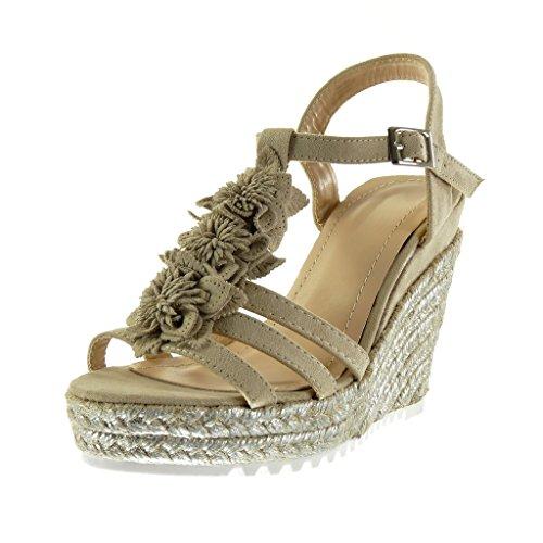 Angkorly - Scarpe da Moda sandali Mules con cinturino alla caviglia zeppe donna fiori corda lucide Tacco zeppa piattaforma 11.5 CM - Beige