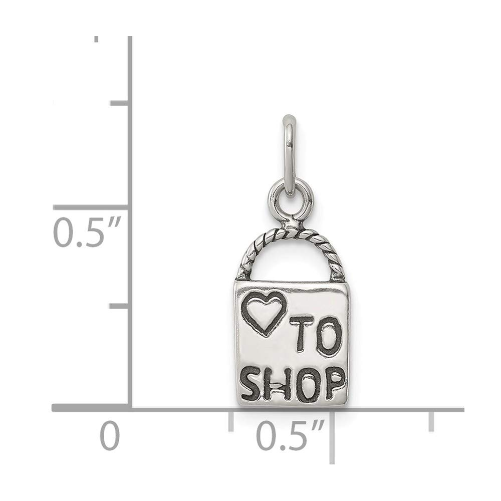 18mm x 8mm Mia Diamonds 925 Sterling Silver Solid Antiqued Love To Shop Charm