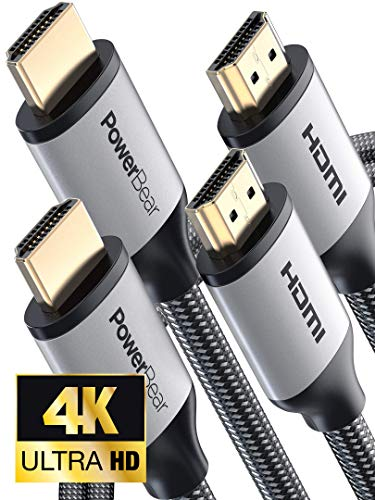 PowerBear 4K HDMI Cable 6 ft [2 Pack] Braided Nylon & Gold Connectors