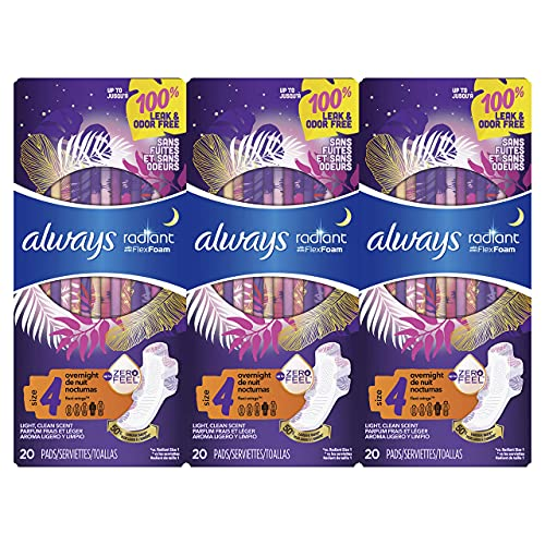 Always Radiant Feminine Pads for Women, Size 4, 60 Count, Overnight Absorbency, With Wings, Scented (20 Count, Pack of 3…