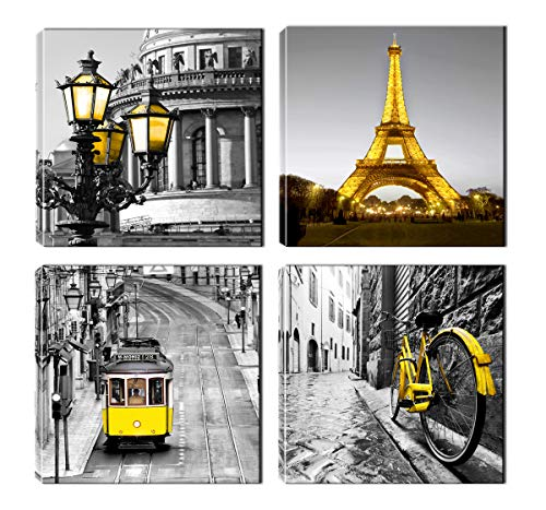 Paris Decor - Eiffel Tower Painting for Bedroom - Gray and Yellow Canvas Wall Art - Ready to Hang for Livingroom Office (Gray and Yellow) (Canvas Art Gray Wall And Yellow)