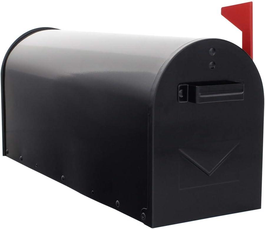 Drapeau Rouge Pro First 630 Bo/îte aux lettres am/éricaine noire en acier