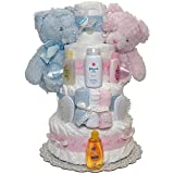 Twins Baby First Year Diaper Cake 4 Tiers
