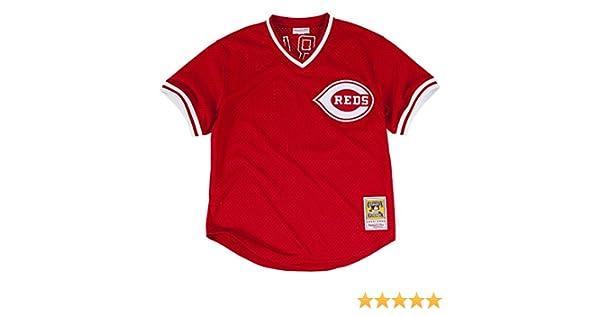 a447d0ac154 Amazon.com   Mitchell   Ness Barry Larkin Red Cincinnati Reds Authentic  Mesh Batting Practice Jersey   Clothing