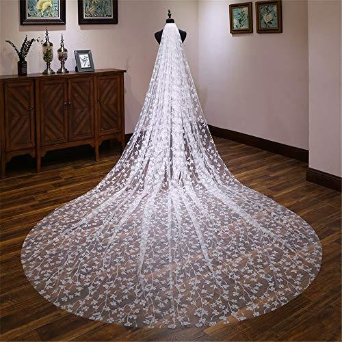 Wedding Veil Bridal Veil Long Trailing Wedding Dress Luxury Shiny Bride Veil Wedding Dress Tiara Women's Clothing Wedding Bridal Veil (Color : Creamy-White, Size : 400cm300cm)