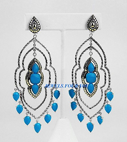 John Hardy Diamond Earrings (John Hardy St.silver & 18k Gold Turquoise Batu Dot Chandelier Earrings)