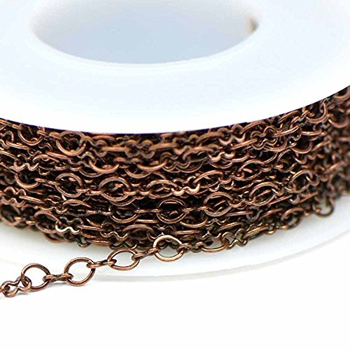 Copper Ox Plate - Chainologie Antique Copper Chain #4: 3x3.5mm Flat Peanut/Oval Link Cable Chain (per 25-foot spool/hank)