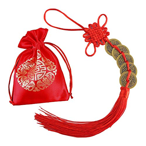 Loupdeloup Chinese Feng Shui Coins,Good Luck Coin 1 Inch Pray for Lucky and Wishes with Red Bag and Chinese Knot 5 Coins