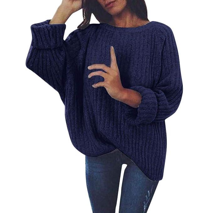 the latest 7c571 6c9ad Hanomes Damen warme Pullover Mode Strickpullover Winter Rundhalsausschnitt  Strickjacke Asymmetrisch Jumper Tops Shirt Bluse