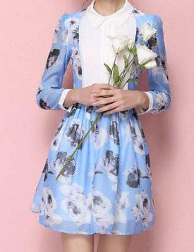 PU&PU Robe Aux femmes Trapèze Street Chic,Fleur Col Arrondi Au dessus du genou Polyester , blue-m , blue-m