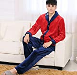 LJ&L Long Sleeve Couple Breathable Pajamas Set Warmer Fancy Fleece Comfort Underwear Pajamas,Men,M