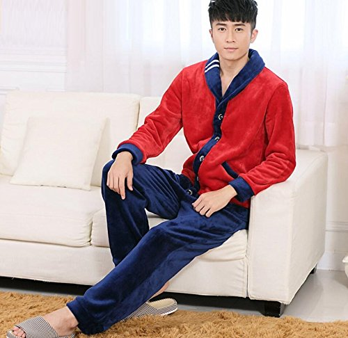 LJ&L Long Sleeve Couple Breathable Pajamas Set Warmer Fancy Fleece Comfort Underwear Pajamas,Men,M by LIUJIANGLONG