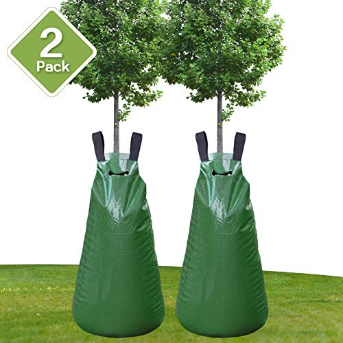 Remiawy Tree Watering Bag 2 Pack 20 Gallon Slow Release Watering Bag for Trees and Plants, Tree Water Bag Made of Heavy-Duty PE Tarpaulin Material with Zipper(5-8 Hours Releasing Time)
