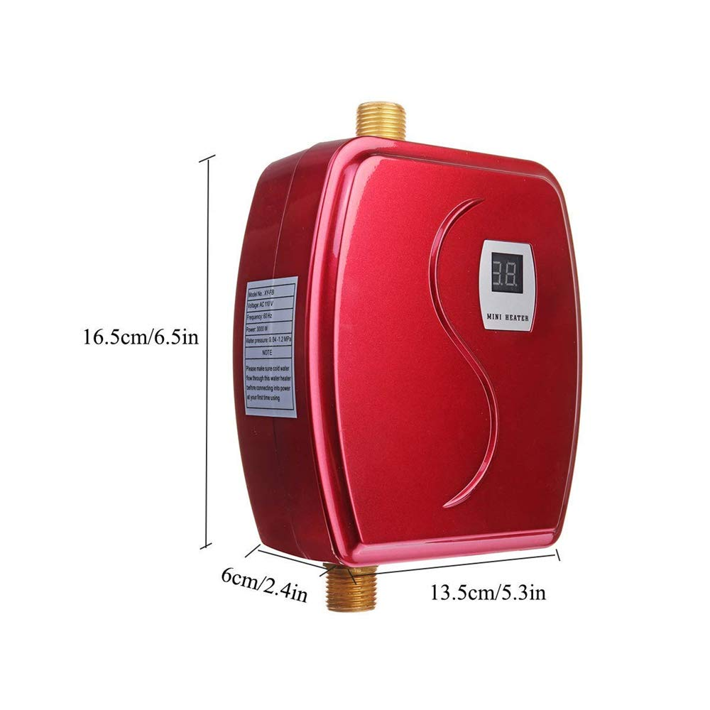 Electric Tankless Hot Water Heater, 110V 3000W Mini Tankless Instant Hot Water System with Leakage Protection and LCD Digital Display,Fast Getting Hot Water in 3 seconds for Bathroom Kitchen Washing by kbxstart (Image #3)