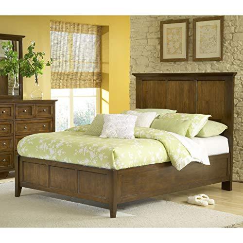 Domusindo Modern Shaker Truffle Solid Mahogany Panel Bed Queen