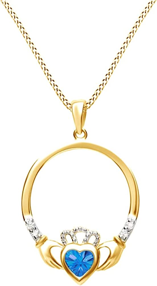 Jewel Zone US Claddagh Heart Pendant Necklace in Yellow Gold Over Sterling Silver W//Chain 18