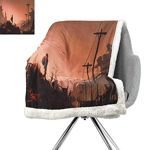 (Fantasy Art House Decor Lightweight Blanket,Cartoon Woman Hiker Looks at Abandoned City Urban Lonely Girl Image,Salmon Brown,Blanket as Bedspread W59xL47)