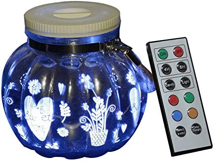 LED Color Changing Mason Jar Lantern Light Battery Operated Outdoor Glass Fairy Hanging Jar Lighting Waterproof Decorative Lights with Remote Timer Home Patio Garden Wedding Christmas Decor Lights