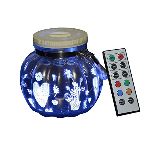 iZAN 1 Pack Mason Jar LED Light Indoor Outdoor Glass Jar Light Battery Operated Lantern with Remote for Home Garden Party Decorations Christmas Décor Light, Flowers and Sweethome -