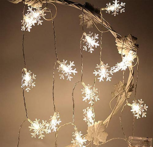 LoiStu 16ft / 40LED Christmas Snowflake String Light Fairy Lights for Party, Wedding, Interior, Garden, Festival Decoration (WarmWhite) (Garden Fairy Party)