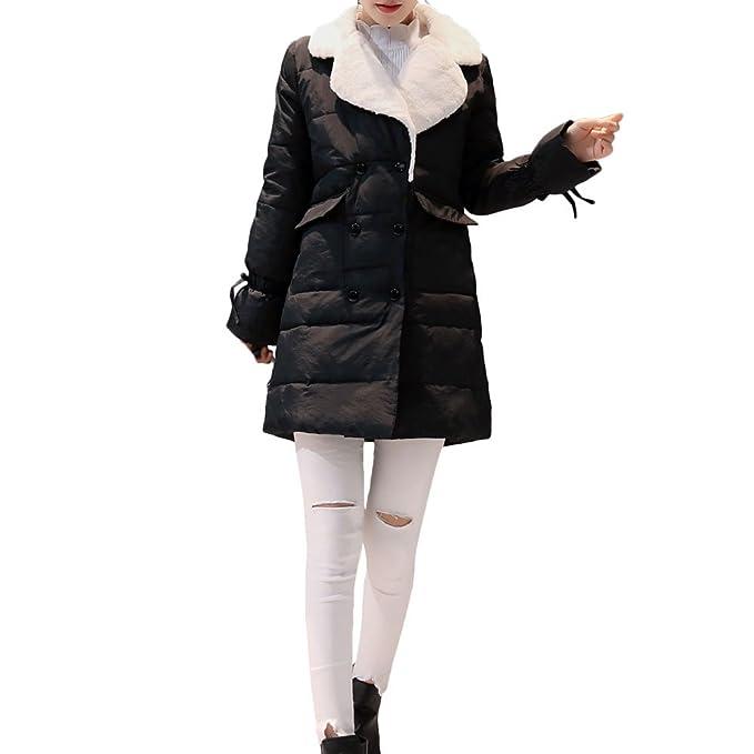 0854e4a24f8a81 Moda Cappotto con da Donna, Invernali Sottile E Leggero Cappotti Addensare  Aggiungi Velluto Casual Eleganti
