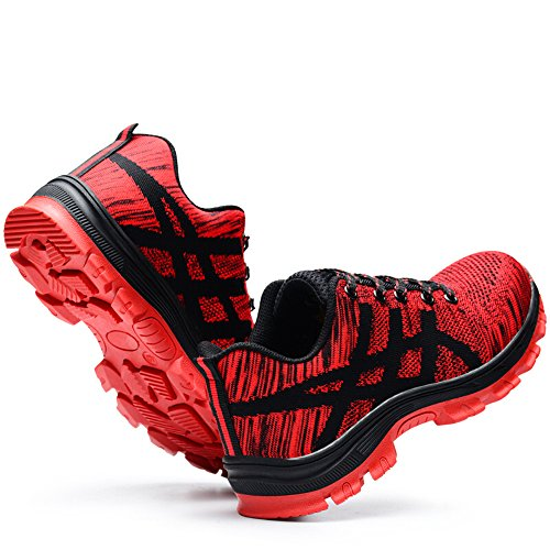 amp;construction proof industrial unisex Red work shoes shoes shoes safety steel puncture toe 78w8qXS