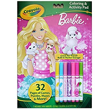 Amazon Com Crayola Barbie Coloring And Activity Book With Markers