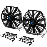 """DNA Motoring RAF-10+FMK-X2 2Pcs 10"""" Inch Electric Radiator Cooling Fan Kit (Black)"""