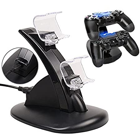 Anrain Dual PS4 Gaming Controller LED Charging Stand USB Charger Dock Station Cradle For Sony Playstation 4