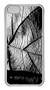 iPhone 5C Case, Personalized Custom Dry Leaf Black And White for iPhone 5C PC Clear Case