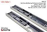 22 inch drawer slides soft close - 10 Pack Berta Full Extension Soft / Self Close Ball Bearing Side Mount Drawer Slides 22-Inch 100Lb Load Rating (10 Pairs)