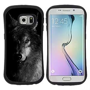 "Hypernova Slim Fit Dual Barniz Protector Caso Case Funda Para Samsung Galaxy S6 EDGE [Perro Negro Blanco Invierno Feral Animal""]"