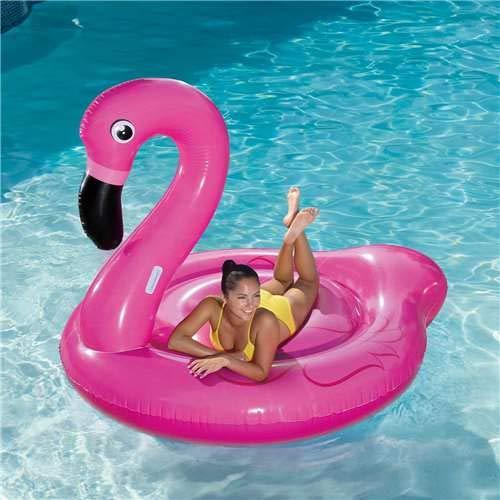 (Summer Waves Jumbo Inflatable Pink Flamingo Ride-On Swimming Pool Float Raft)