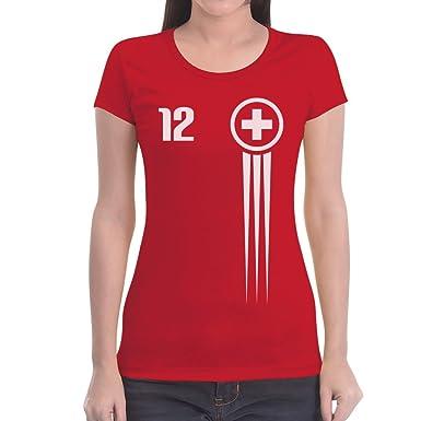 b263c100f6b2 Schweiz Trikot Fanshirt WM 2018 Fanartikel 12. Mann Frauen T-Shirt Slim Fit  Small