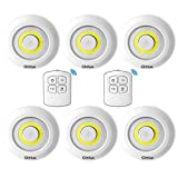 Glolux Ultra Bright 150 Lumen COB LED Puck Lights With Remote Control Under Cabinet Lighting Tap Lights Counter Lights Battery Wireless Operated Under Counter Lighting (Pack of 6)
