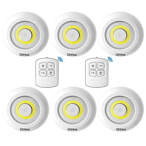 Glolux Ultra Bright 150 Lumen COB LED Puck Lights With Remote Control Under Cabinet Lighting Tap Lights Counter Lights Battery Wireless Operated Under Counter Lighting (Pack of 6) by Glolux