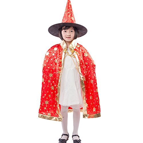 HomeMals Witch Creepy Cute Graphic Kids Halloween Costume Cape Witches Cloak Wizard Hat Set Red -